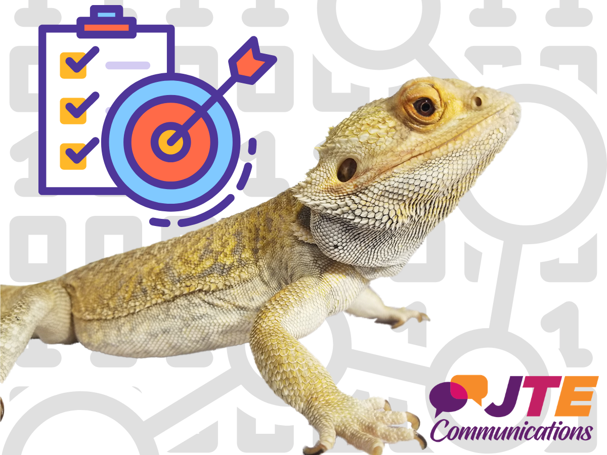 What are your social media goals? Charts with Falkor and JTE Logo.